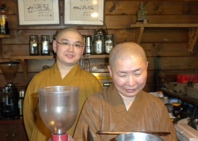Fa Ren (left), who is a professor at Hong Kong University, kindly accepted Venerable Semkye's request to be her translator for the classes and the complex ordination rehearsals. Venerable Semkye was very grateful for her support. On Fa Ren's right is Ven. Wen Che, the senior bhikshuni guide for the course.