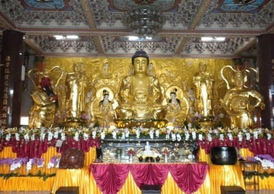 The main altar at Miao Fah Chan temple in Xian Yin City where the ordination took place. This temple was built by the abbot, Master Hsin Tien, who ordained Venerable Jampel at Sravasti Abbey two years ago. He is delighted to see another bhikshuni at Sravasti Abbey.