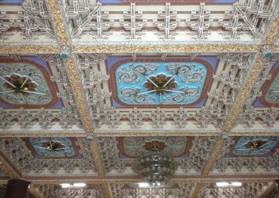 The ceilings are beautifully carved and painted.