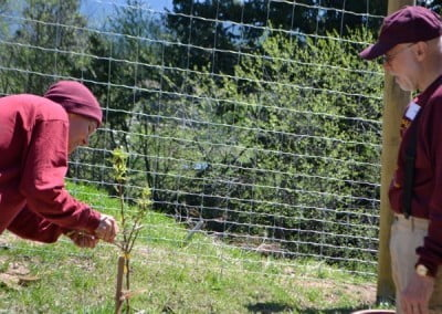 Meanwhile, outdoors Venerable Semkye and Bill plant a fruit tree in the garden, near the new cabin.