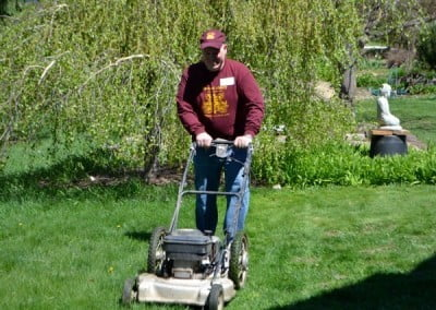 "Mike mows the lawn, ""Quick, before the guests arrive!"""