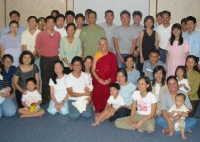 Group photo of Friends of Sravasti Abbey Singapore with Venerable Chodron