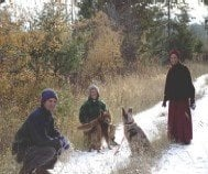 Barry, Nanc, and Venerable walking with 'Bodhi' and friend on the Abbey property