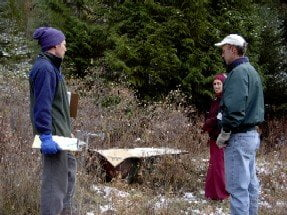 Steve, the DNR forester, came out and walked the land with us, giving us advice on how to take care of the trees and by extension, the animals that inhabit the forest. Here he is talking with Barry and Venerable. Harold had planned to dig a pond for wildlife at this location.