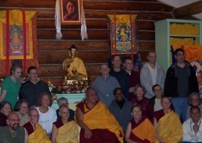 The Abbey community, Medicine Buddha 1 month retreatants and the week <br> long guests pose at the end of the wonderful teachings on bodhicitta.