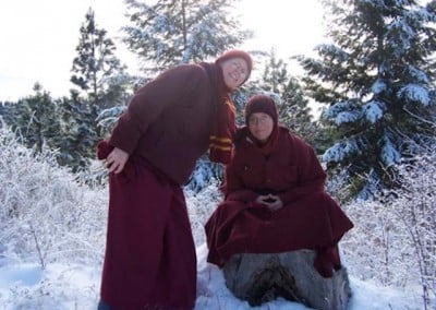 Venerable Semkye tries the snowy stump meditation with Venerable Tarpa's encouragement. It was a very short meditation.