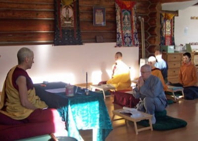 Dianne takes the precepts visualizing all the Buddhas and holy beings in the space in front of her.