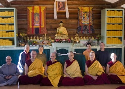 A group photo of monastics and guests to celebrate the precept ceremony