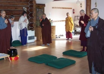 The lay folks witness the procession at the beginning as well as a short incense  offerings before they must leave the hall. They meditated in the house during the ceremony and felt very connected to the great event that was occurring. Only monastics participate in the ceremony itself.