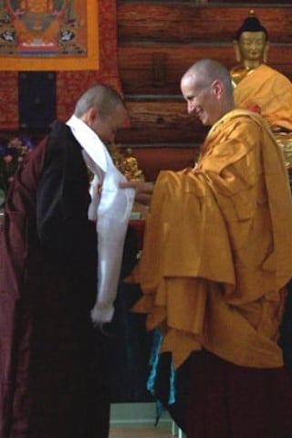 The Abbey gave the visiting Bhikshunis tokens of gratitude for their wonderful care and support during this historical moment at Sravasti Abbey. Venerable Chodron presents  to Venerable Vinaya (Chanlu).