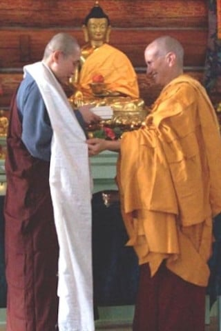 Venerable Chodron presents to Venerable Star (Tzushin).