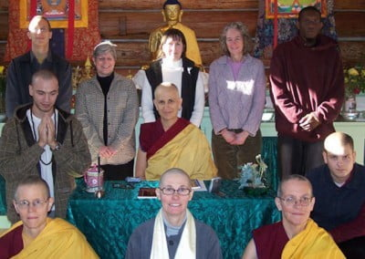 A group photo of the Abbey community members and friends on this joyous <br> day.