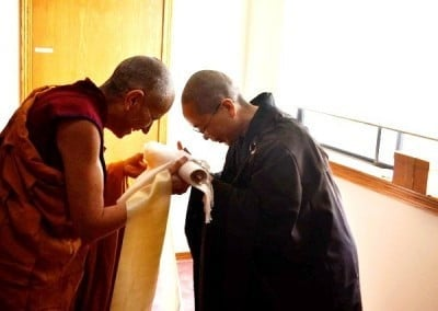 Venerable Chodron offers her long time Dharma sister a gift of appreciation.