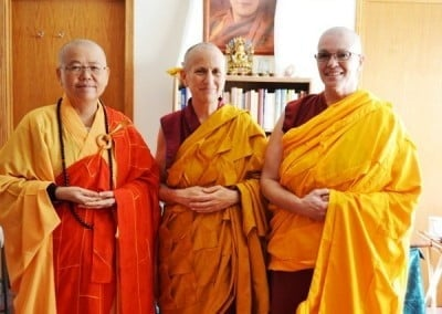 The new Abbey Shikshamana with her preceptor and Acharya.