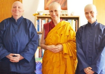 Venerable Chodron poses with the Abbey's new anagarikas.