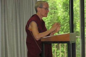 Venerable Semkye gives her talk on good environmental practices, ancient and emerging on Friday morning.