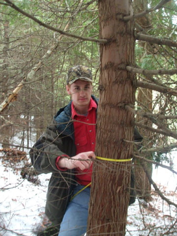 Craig Allen, wildlife biology major, takes the diameter of one of the trees. It helps to get an average of the size and age of our forest stands.