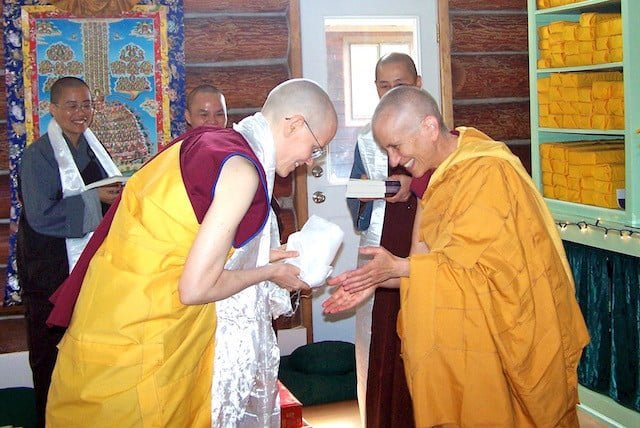 Ven. Thubten Tarpa is the first monastic ordained at the Abbey.
