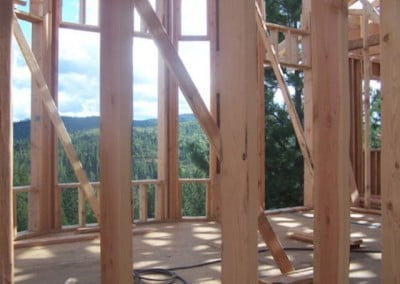 The framing of the walls for Gotami House