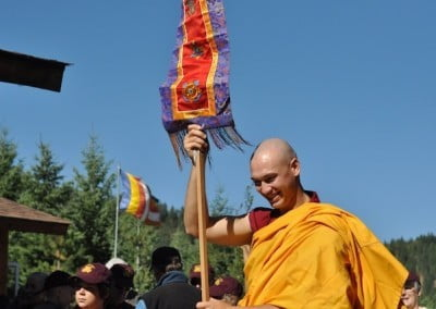 The sangha leads the procession to Gotami House.