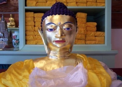 Closeup of the bust of the Buddha