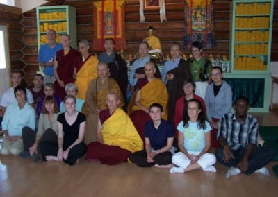 The guests and the sangha share in the merit of this auspicious day of the monastic community welcoming a new member.