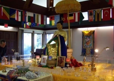 The afternoon before the relic tour opens, the cases to hold the precious relics are placed around the Maitreya statue.