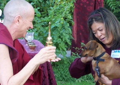 On Sunday afternoon Venerable Chodron sits in the Church's lovely garden as local folks and church attendees return with their pets for blessings.