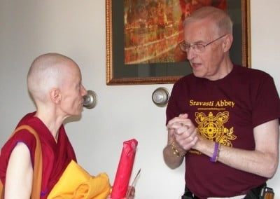 Bob congratulates Venerable Samten