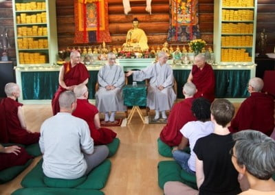 Venerable Jendy introduces Venerable Hong Zen, who is the longest ordained monastic in the group. Together the four elder bhikshunis have been ordained almost 120 years.
