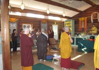 Dallas and the sangha begin the incense offering.