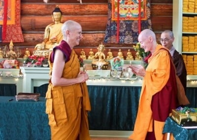 Venerable Samten makes an offering to her precious teacher and upadhyika.
