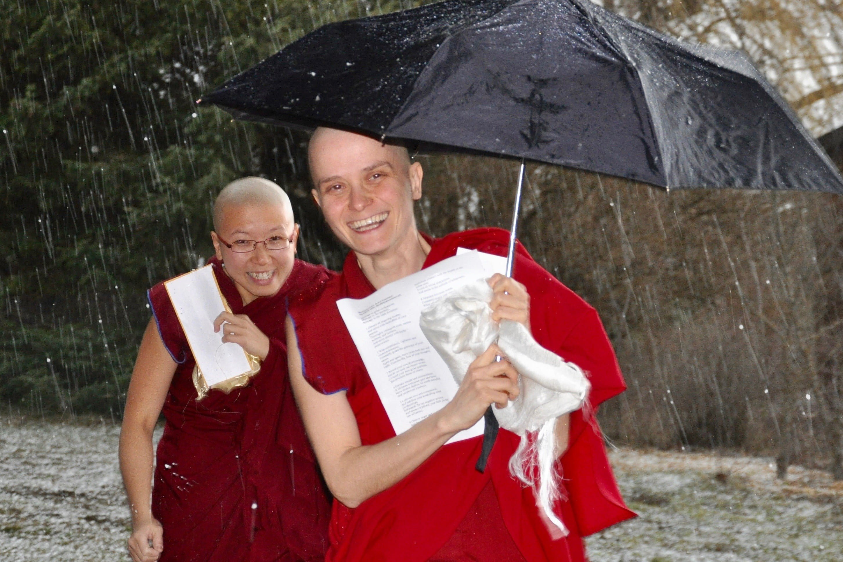 Happy nuns in the rain.
