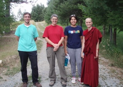 Ven. Jampa and friends get ready to take a walk in the forest.
