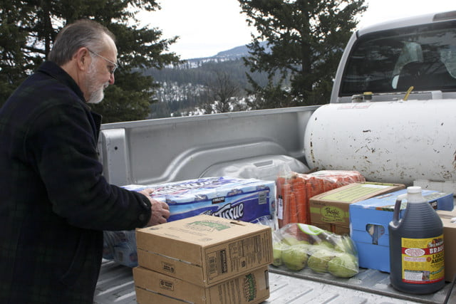 They load up Dick's truck and he makes the one-hour drive to the Abbey, where hebegins to unload.