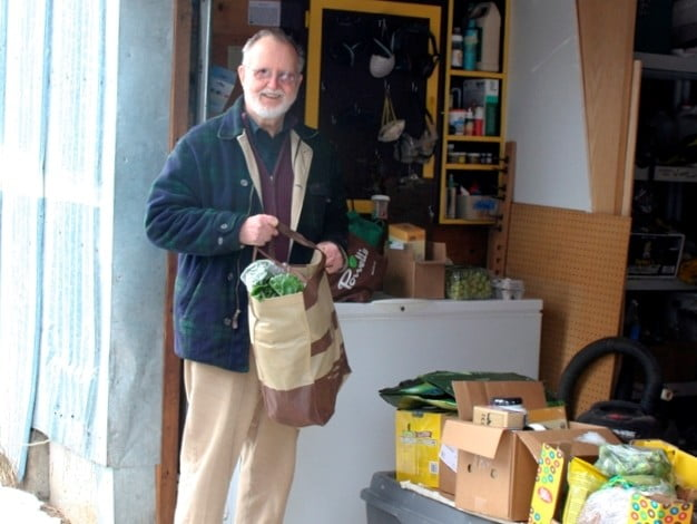 While the Abbey is in retreat, Dick unloads the groceries into theworkshop. When the Abbey is not is retreat,he goes up to Ananda Hall.