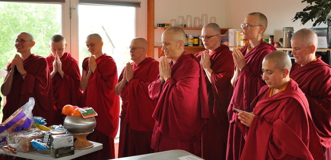 The monastic community accepts your food offering with gratitude