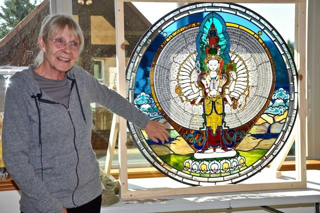 Bev's personal way to give is to offer beautiful stained glass creations for Abbey buildings.