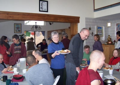Twenty five guests and residents share a potluck during the break time on Sharing the Dharma Day. It was a great combination of first-time and many-time guests to the Abbey.