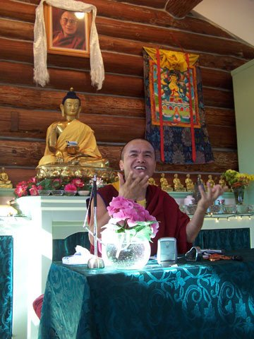 Geshe Dorjee Damdul from Dharmasala teaches on the Buddhist philosophical tenets during his stay at the Abbey.