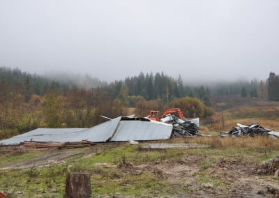 The chicken coop and old barn at Tara's Refuge come down.