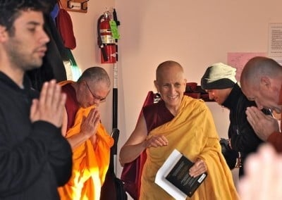 We welcome Ven. Chodron into the Meditation Hall.