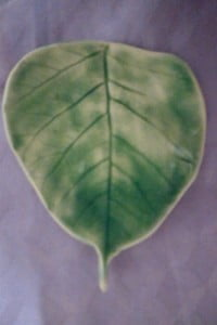 Green ceramic bodhi leaf.