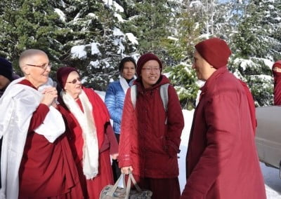 nuns greeting abbess outside