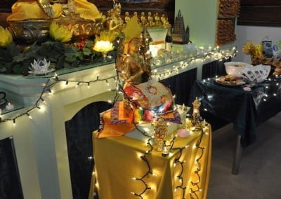 Je Rinpoche is ready for the Lama Chopa Puja.
