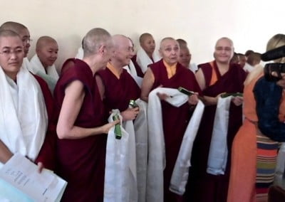 Senior Western nuns, members of the Committee for Bhikshuni Ordination in the Tibetan Buddhist Tradition, with the geshemas.