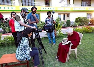Indian film maker Malati Rao and crew are making a documentary about the new geshe-mas.