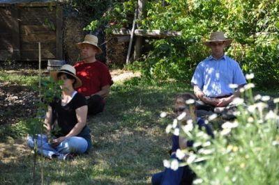 Meditating at the Labor Day retreat.