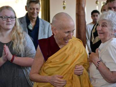 Guests greet Ven. Chodron at Sharing the Dharma Day