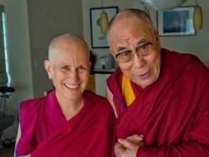 Ven. Chodron with the His Holiness the Dalai Lama
